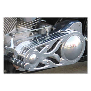 BDL SS-2P (2 Inch) Open Primary Belt Drive in Polished Finish (Flame Design) For 90-06 Softail (ARM229815)