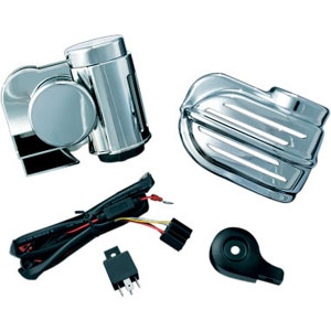 Kuryakyn Super Deluxe Wolo Bad Boy Horn Kit In Chrome Finish For Harley Davidson 1995-2020 Models With Cowbell & Waterfall Horn Cover (7743)