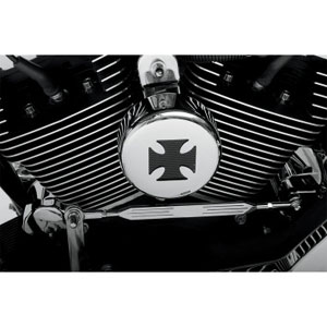Drag Specialties Horn Cover In Chrome With Black Cross For 1993-2020 Big Twin & XL Models (76636MB4)