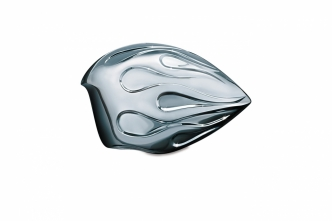 Kuryakyn Flames Horn Cover In Chrome For Harley Davidson 1992-2020 Models With Stock Cowbell Horn Cover (7714)