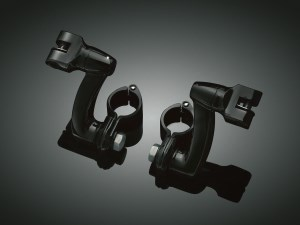Kuryakyn Longhorn Offset Mounts With 1-1/4 Inch Magnum Quick Clamps In Gloss Black Finish (7571)