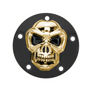 DOSS Horizontal Skull Point Cover in Black & Gold Finish For 1970-1999 Big Twin (Excluding Twin Cam) Models (ARM175005)