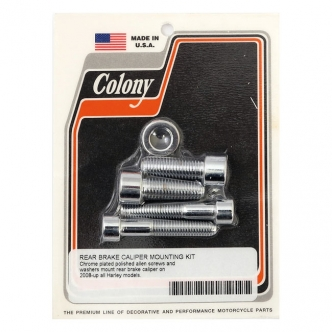 Colony Caliper Mount Bolt Kit Rear Caliper Allen Head in Chrome Finish For 2008-2017 Softail, Dyna Models (ARM166929)
