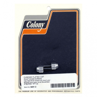 Colony Point Cover Screws Cap Style in Chrome Finish For 1971-1999 B.T. (Excluding Twin Cam), 1971-2003 XL Models (ARM801929)