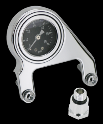 Zodiac Rocker Box Mounted Oil Pressure Gauge in Chrome Finish For S&S V-Series Engines (169335)