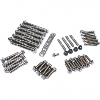 Feuling 12 Point Engine Fastener Kit in Stainless Steel For 1999-2017 Twin Cam A/B Motors (3049)