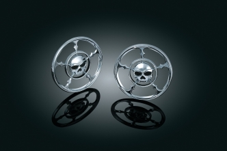 Kuryakyn Zombie Speaker Grills For Harley Davidson 1996-2013 Touring & Trike Motorcycles In Chrome Finish (3787)