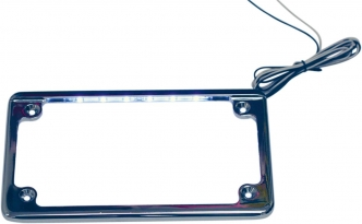 Custom Dynamics Horizontal Motorcycle License Plate Frame In Chrome With L.E.D. Illumination (LPF-HRZ-C-LP)