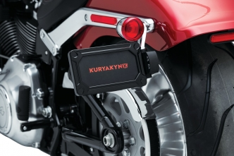 Kuryakyn Nova Side Mount License Plate Frame In Black Finish For Harley Davidson 2018-2020 Softail Breakout, Fat Bob, Fatboy, Slim & Street Bob Models (3142)