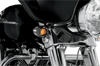 Arlen Ness Deep Cut Factory Style Turn Signals With LED Fire Ring in Black Finish With Amber Ring LEDs and Amber Lens (12-753)