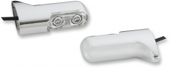 Arlen Ness Rear Direct Bolt On Turn Signals in Chrome Finish With Red Light For 2000-2010 FXST, 1999-2017 FXD/FXDWG, 2004-2020 XL Models With Conventional Style Signals (12-740)