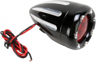 Arlen Ness Dual Filament Deep Cut With Fire Ring And Red Lens Turn Signals in Black Finish (12-749)
