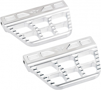 Joker Machine Serrated Passenger Floorboards In Silver Finish For Harley Davidson 2006-Up Dyna, 2000-Up Softail & 1986-Up Touring Models (08-645-1)