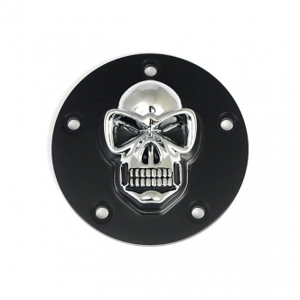 DOSS 5-Hole Skull Point Cover in Black & Chrome Finish For 1999-2017 Twin Cam Models (ARM665005)