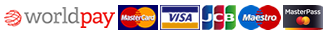We accept Visa Credit, Visa Debit, MasterCard Credit, MasterCard Debit, JCB, Visa Electron, Maestro. Powered by Worldpay